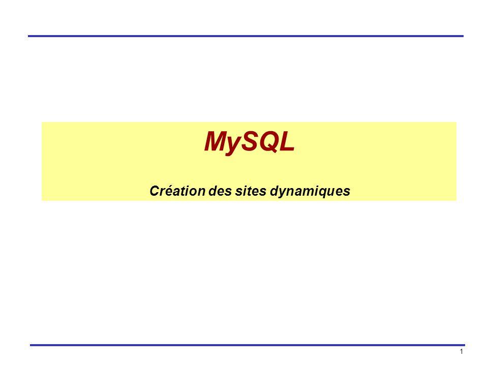 MySQL Création des sites dynamiques
