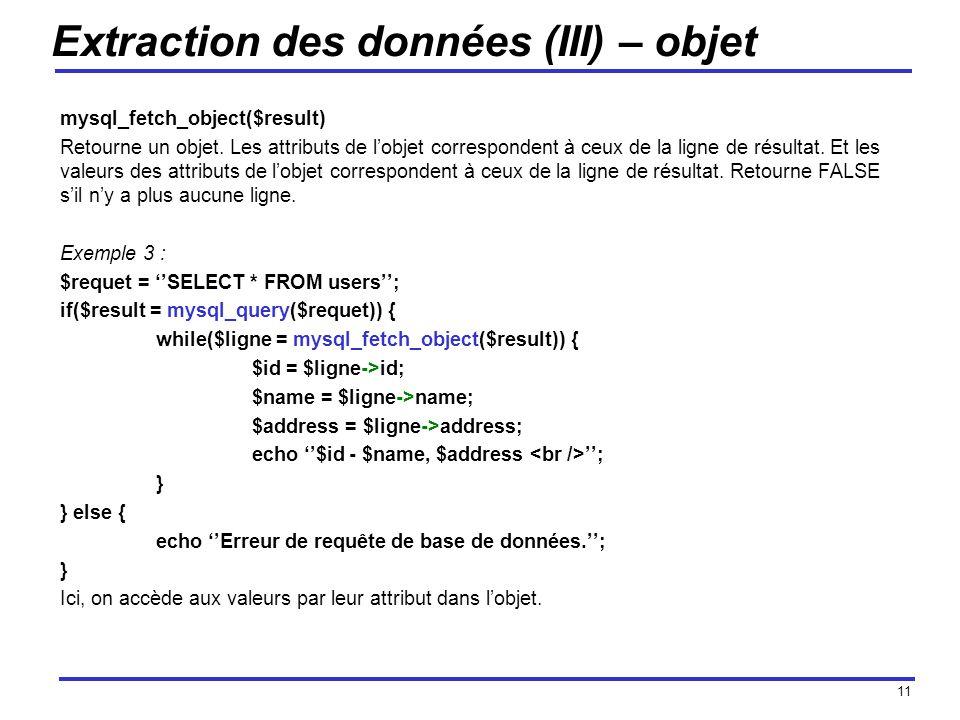 Extraction des données (III) – objet