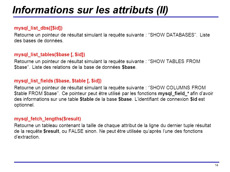 Informations sur les attributs (II)