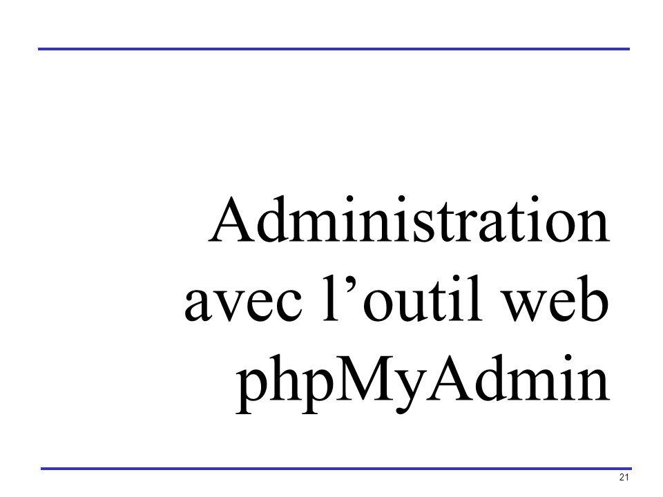 Administration avec l'outil web phpMyAdmin