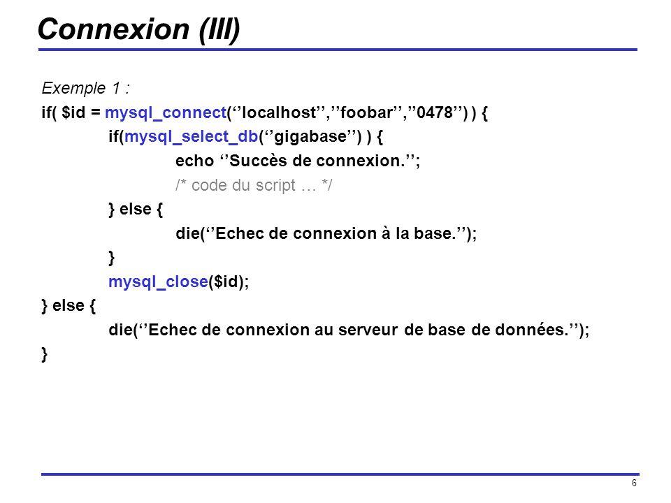 Connexion (III) Exemple 1 :