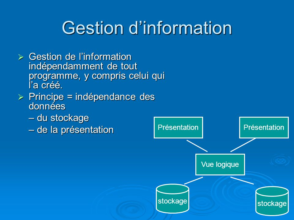 Gestion d'information