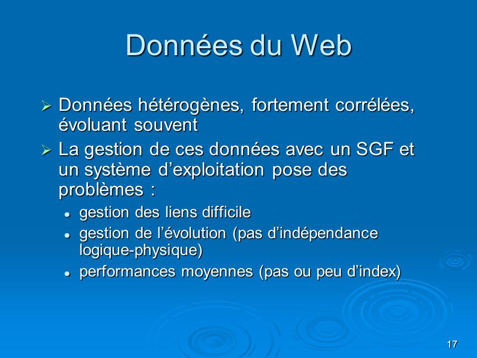 Données du Web Données hétérogènes, fortement corrélées, évoluant souvent.