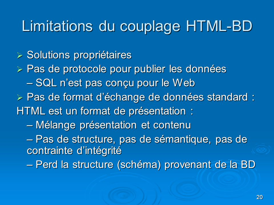 Limitations du couplage HTML-BD