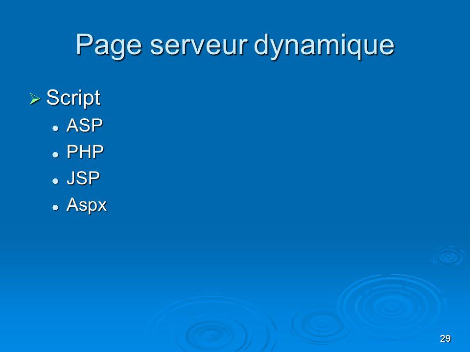 Page serveur dynamique