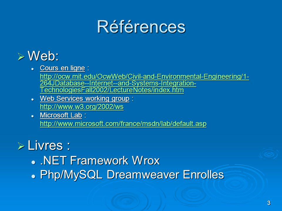 Références Web: Livres : .NET Framework Wrox