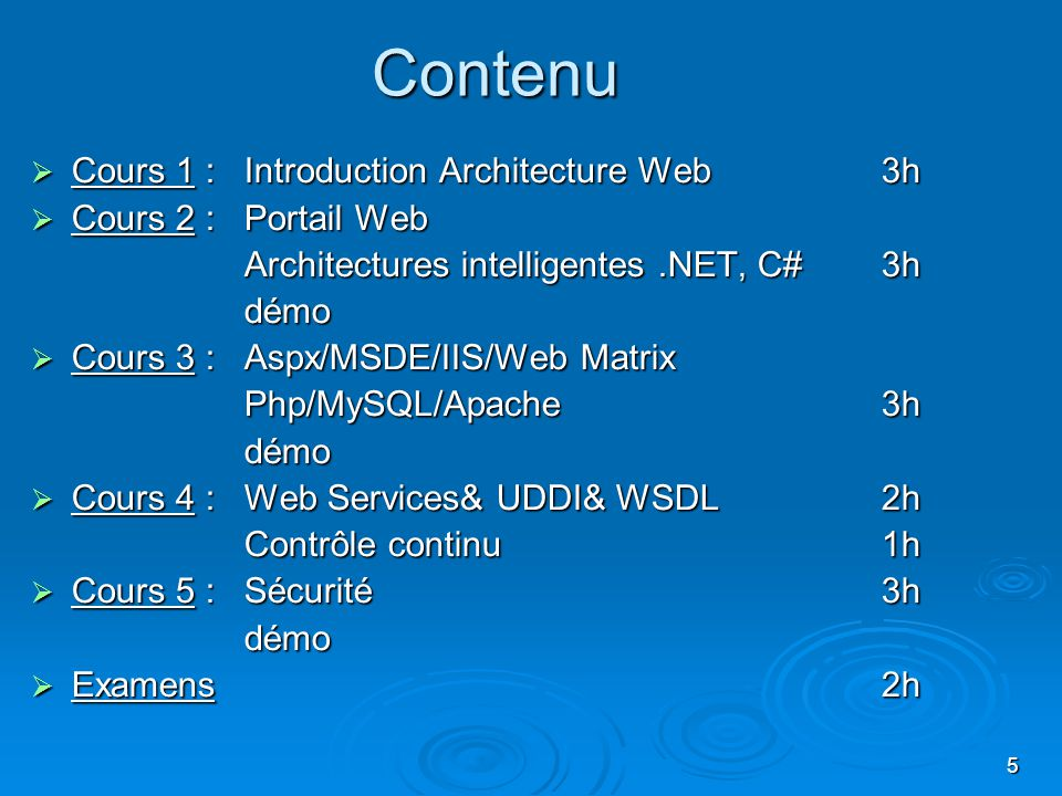 Contenu Cours 1 : Introduction Architecture Web 3h