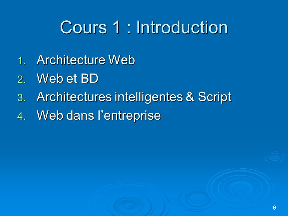 Cours 1 : Introduction Architecture Web Web et BD