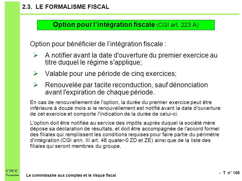 Option pour l'intégration fiscale (CGI art. 223 A)