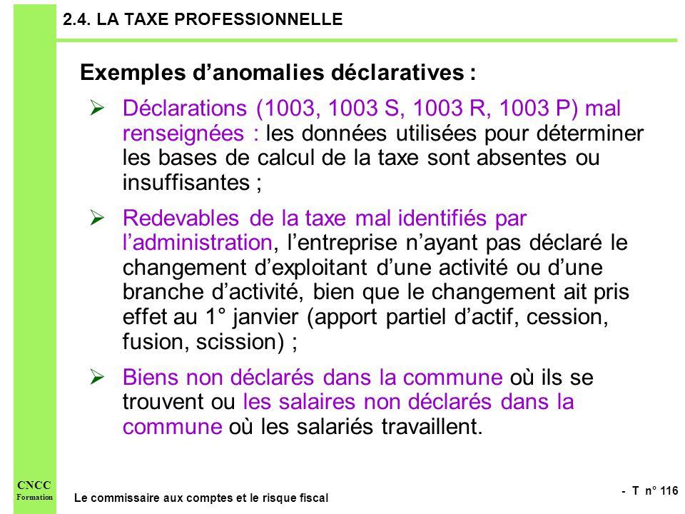 2.4. LA TAXE PROFESSIONNELLE