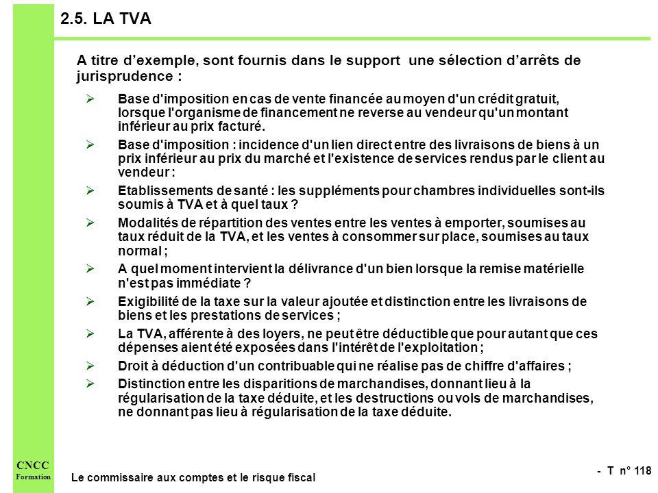 2.5. LA TVA A titre d'exemple, sont fournis dans le support une sélection d'arrêts de jurisprudence :