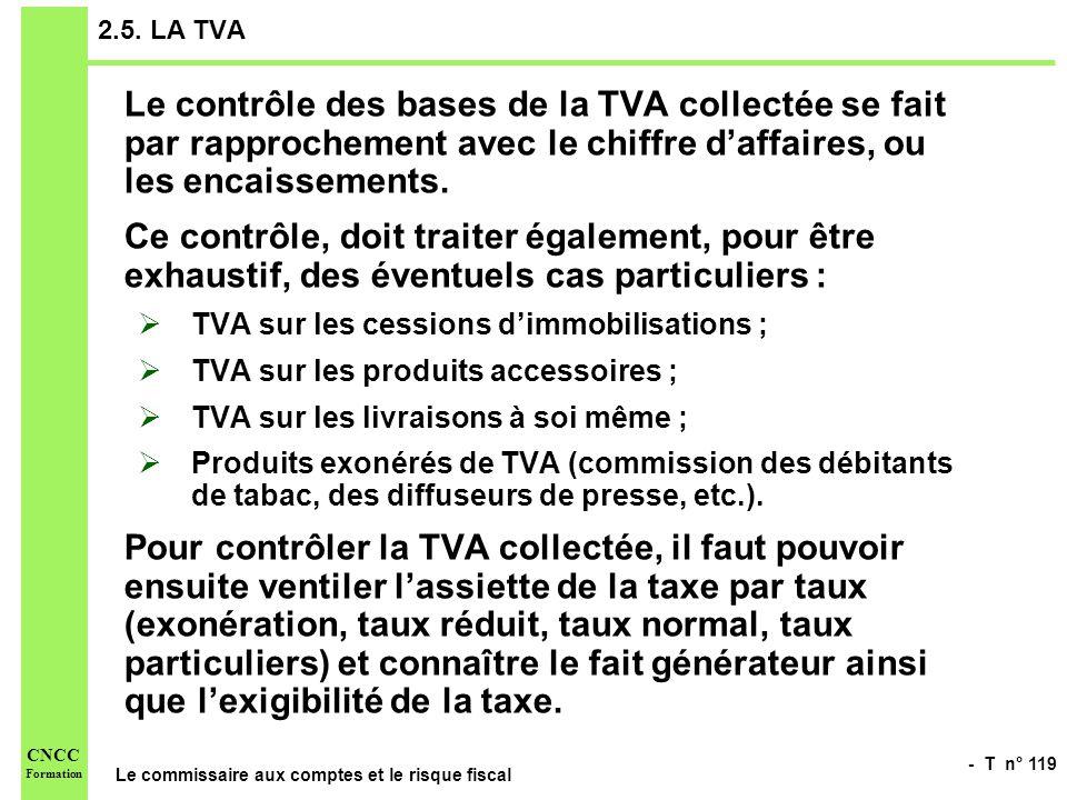 2.5. LA TVA Le contrôle des bases de la TVA collectée se fait par rapprochement avec le chiffre d'affaires, ou les encaissements.