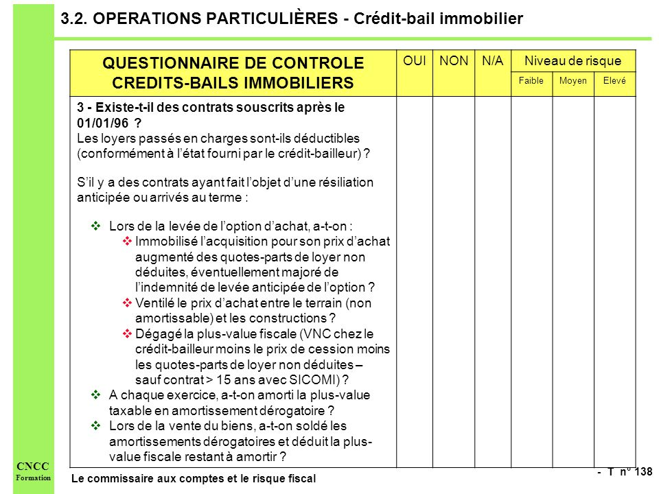 3.2. OPERATIONS PARTICULIÈRES - Crédit-bail immobilier