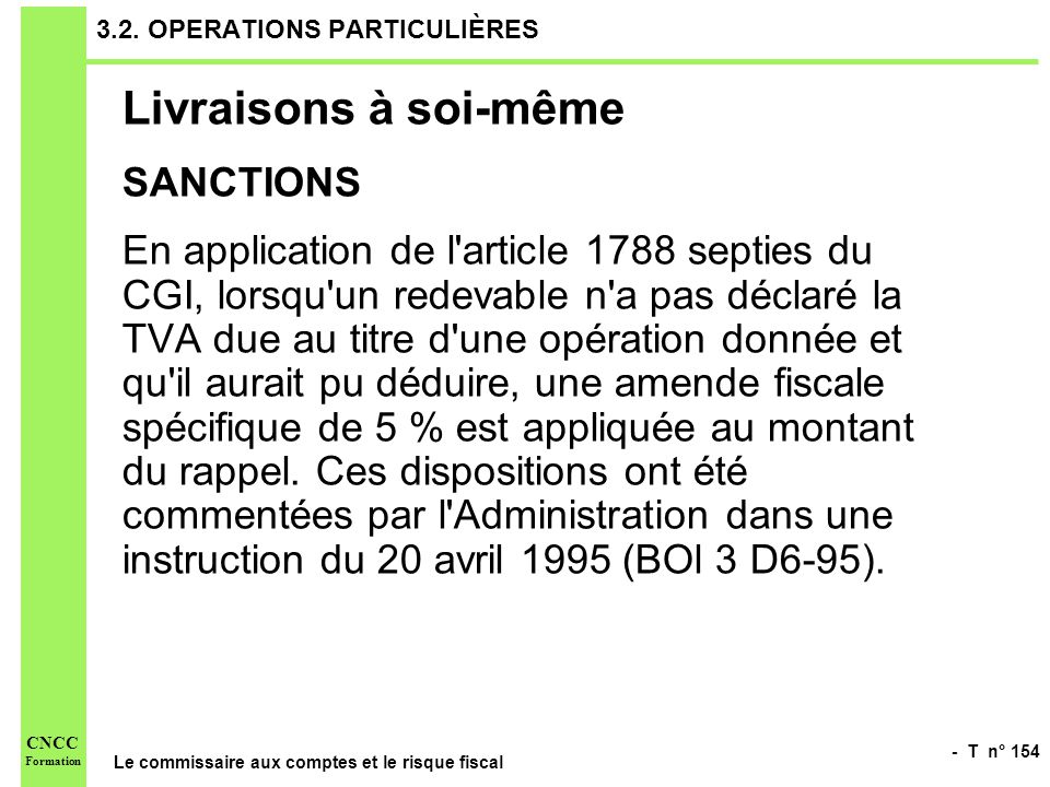 3.2. OPERATIONS PARTICULIÈRES