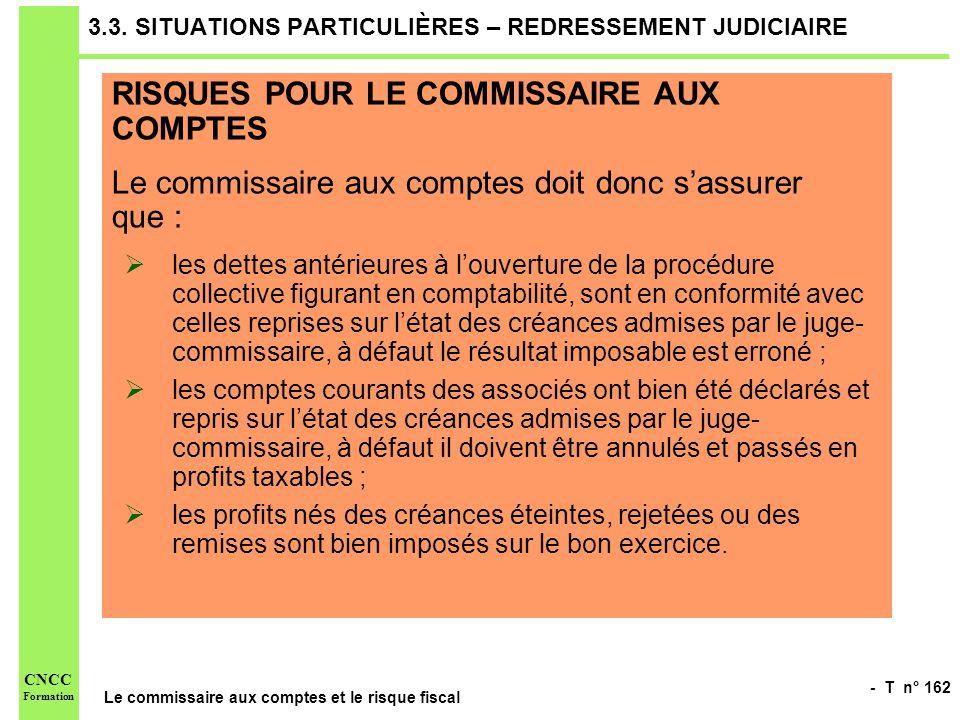 3.3. SITUATIONS PARTICULIÈRES – REDRESSEMENT JUDICIAIRE