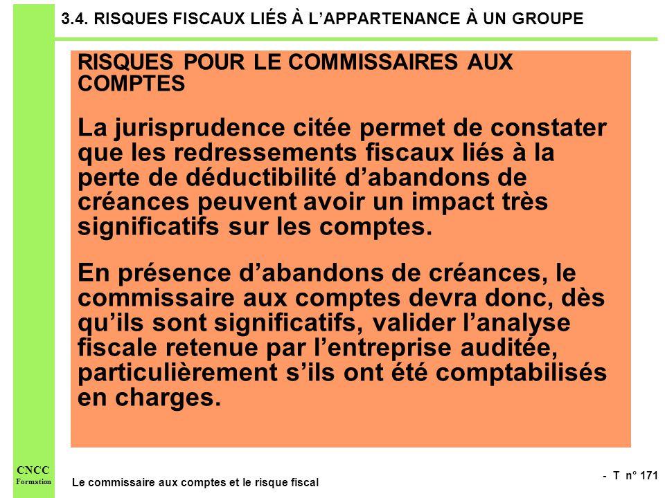 3.4. RISQUES FISCAUX LIÉS À L'APPARTENANCE À UN GROUPE