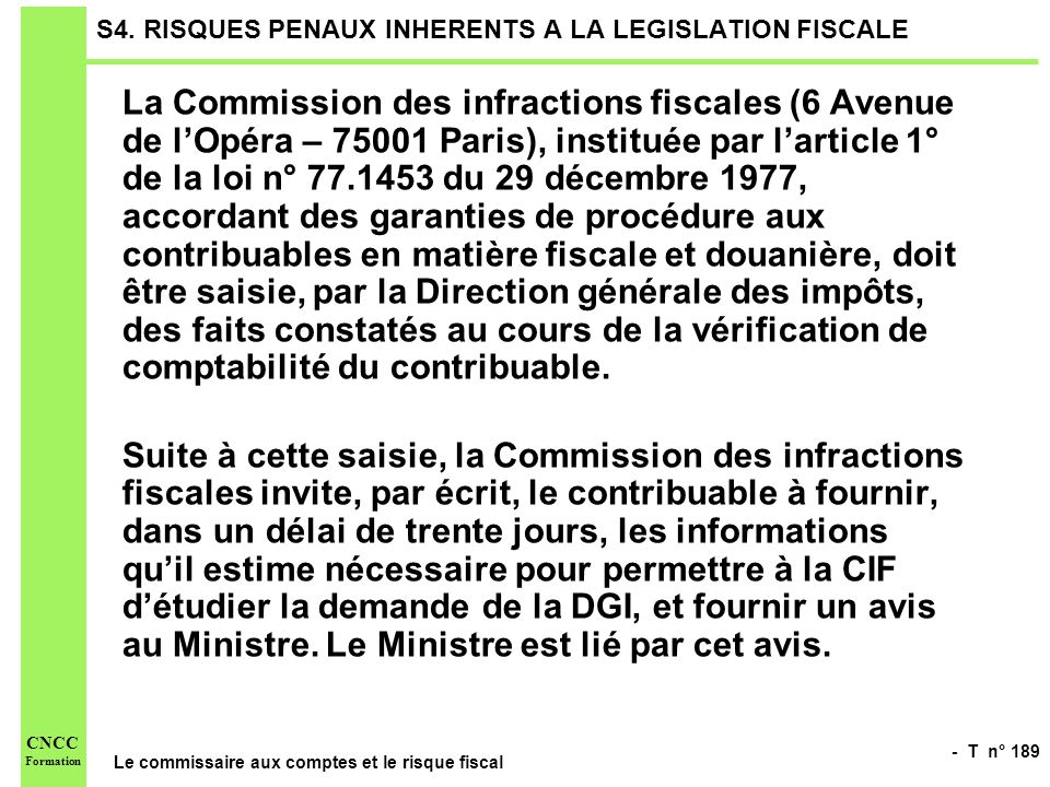 S4. RISQUES PENAUX INHERENTS A LA LEGISLATION FISCALE