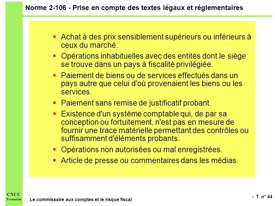 Norme 2-106 - Prise en compte des textes légaux et réglementaires