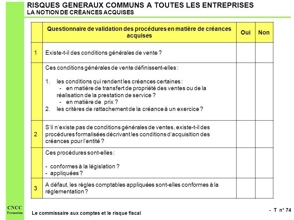 RISQUES GENERAUX COMMUNS A TOUTES LES ENTREPRISES LA NOTION DE CRÉANCES ACQUISES