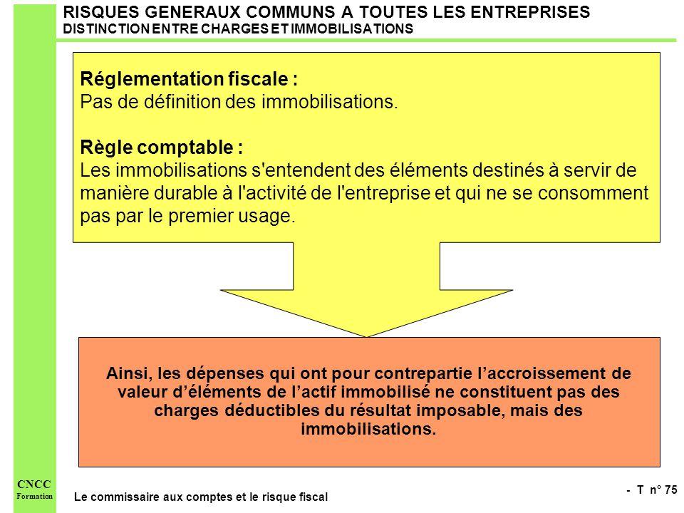 Réglementation fiscale : Pas de définition des immobilisations.