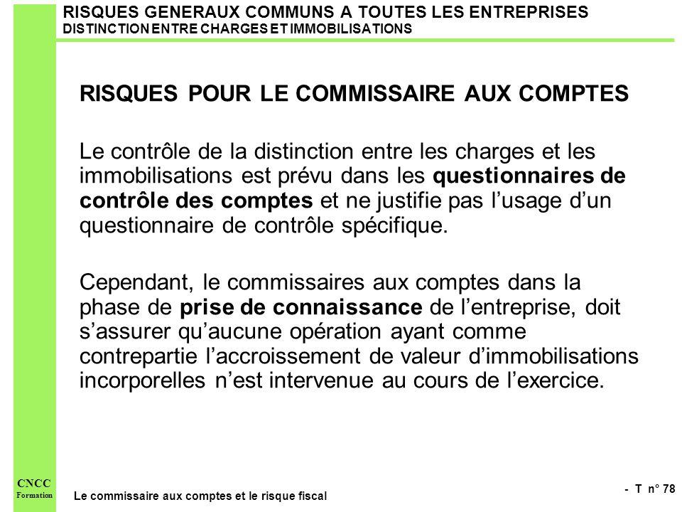 RISQUES POUR LE COMMISSAIRE AUX COMPTES