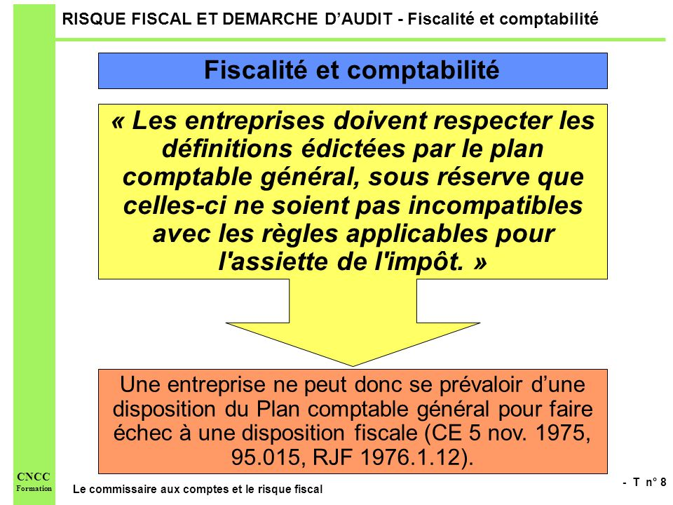 RISQUE FISCAL ET DEMARCHE D'AUDIT - Fiscalité et comptabilité