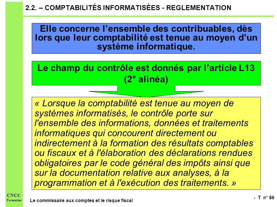 2.2. – COMPTABILITÉS INFORMATISÉES - REGLEMENTATION