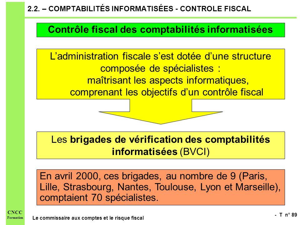 2.2. – COMPTABILITÉS INFORMATISÉES - CONTROLE FISCAL