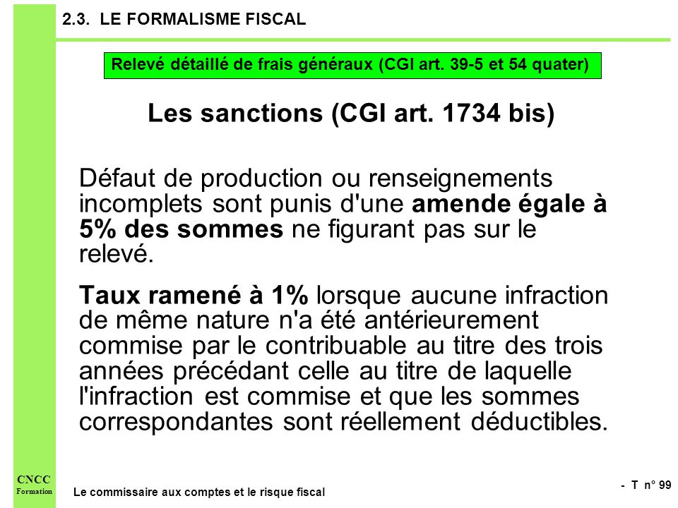 Les sanctions (CGI art. 1734 bis)