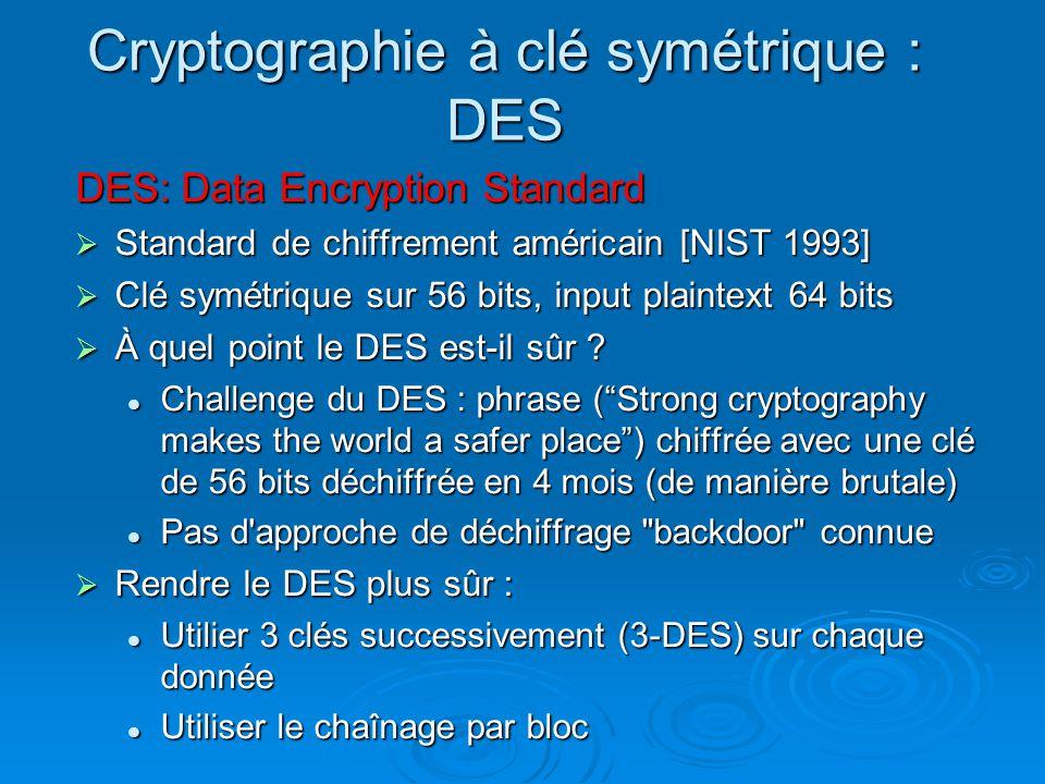 Cryptographie à clé symétrique : DES
