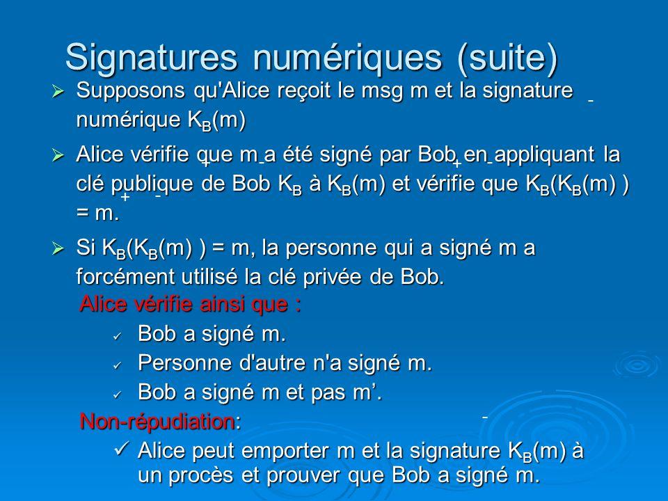 Signatures numériques (suite)