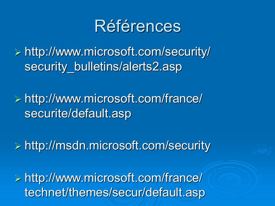 Références http://www.microsoft.com/security/ security_bulletins/alerts2.asp. http://www.microsoft.com/france/ securite/default.asp.