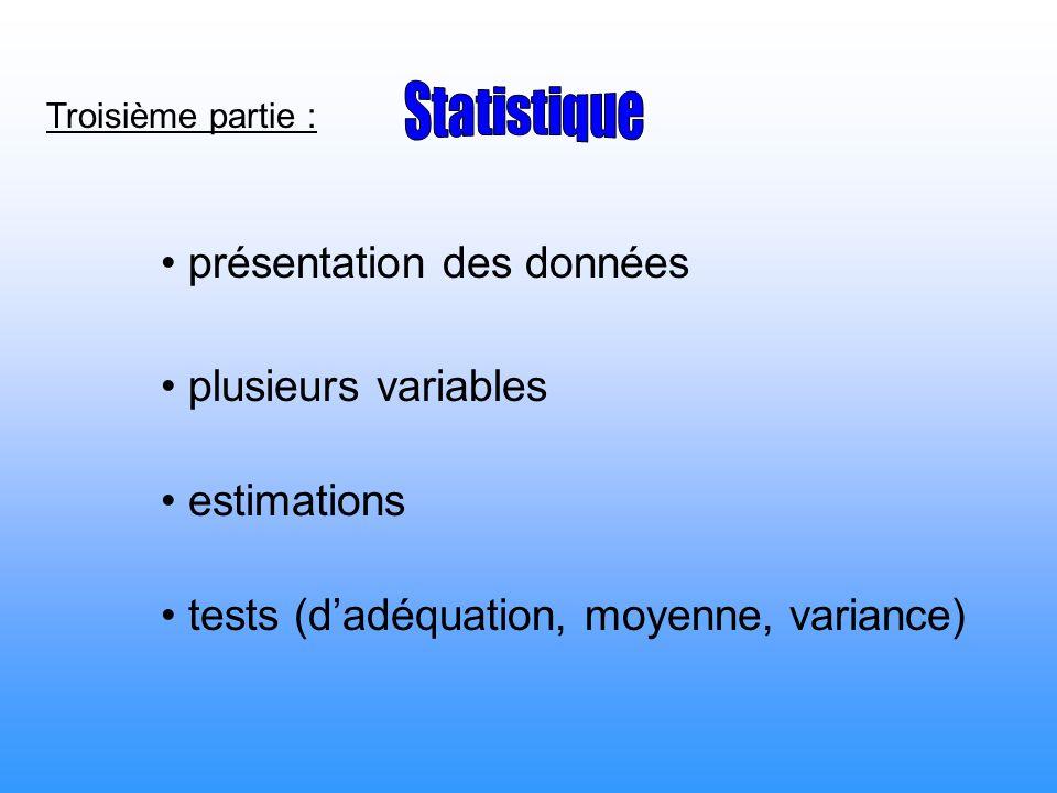 Statistique présentation des données plusieurs variables estimations