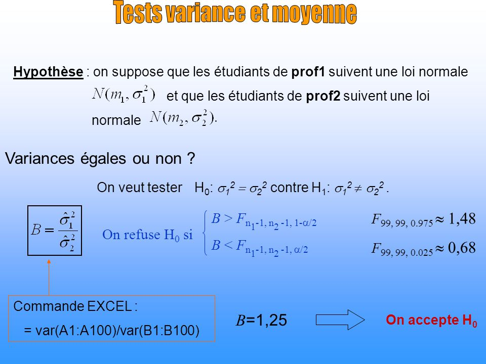 Tests variance et moyenne