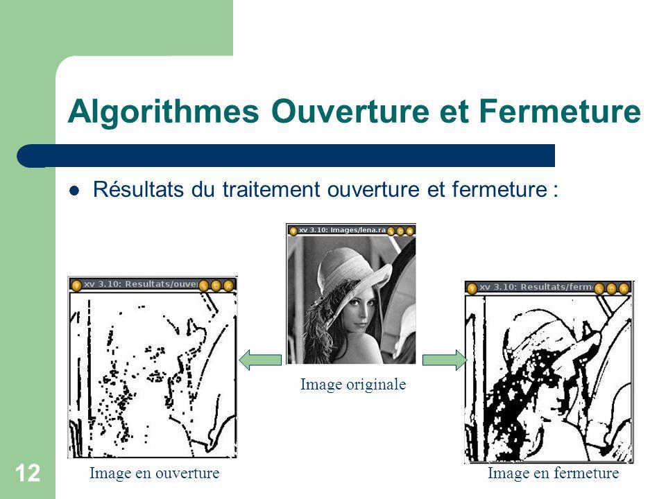 Algorithmes Ouverture et Fermeture