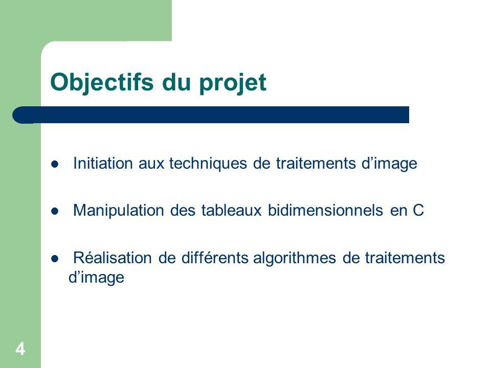 Objectifs du projet Initiation aux techniques de traitements d'image