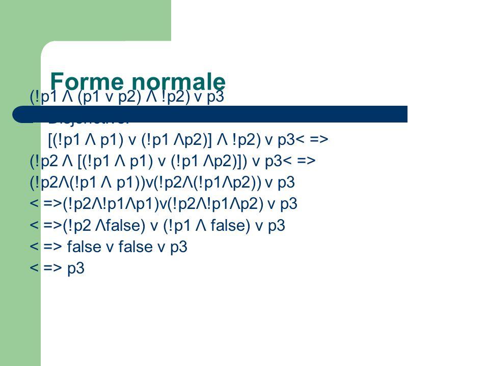 Forme normale (!p1 Λ (p1 v p2) Λ !p2) v p3 Disjonctive: