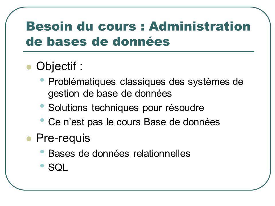 Besoin du cours : Administration de bases de données