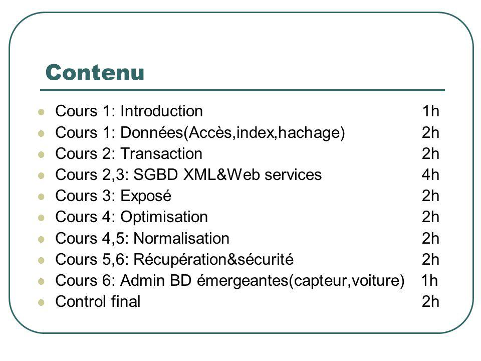 Contenu Cours 1: Introduction 1h