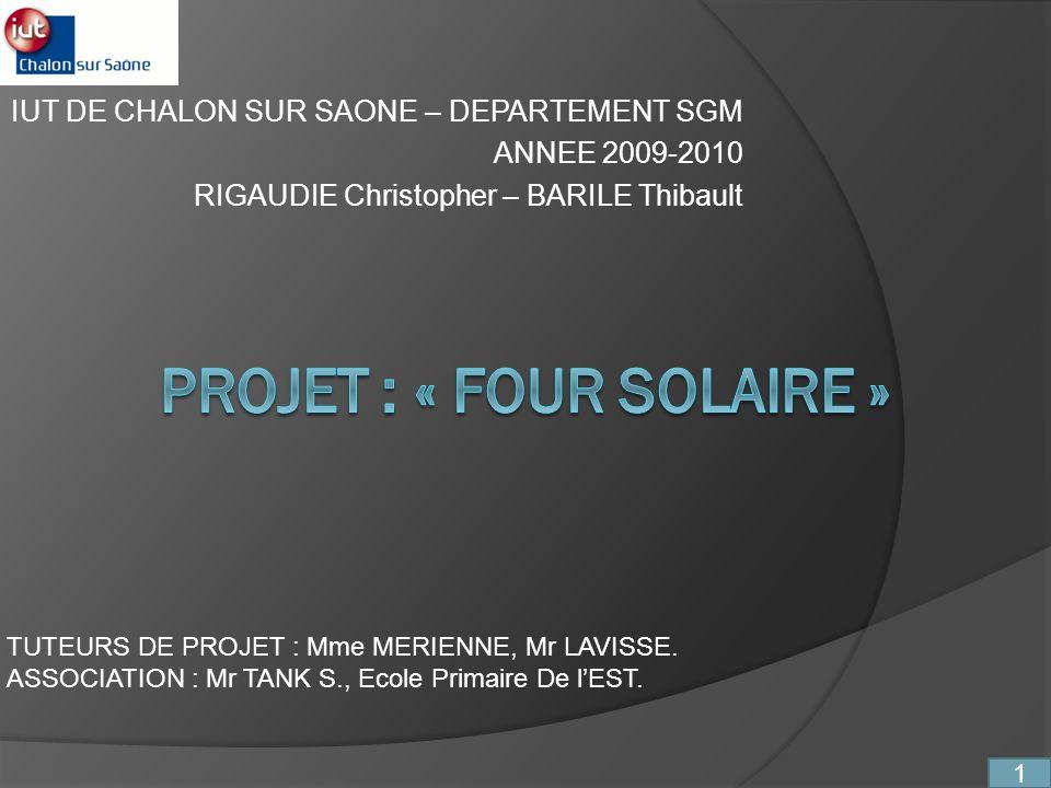 PROJET : « FOUR SOLAIRE »