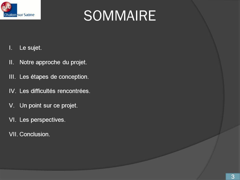 SOMMAIRE Le sujet. Notre approche du projet. Les étapes de conception.