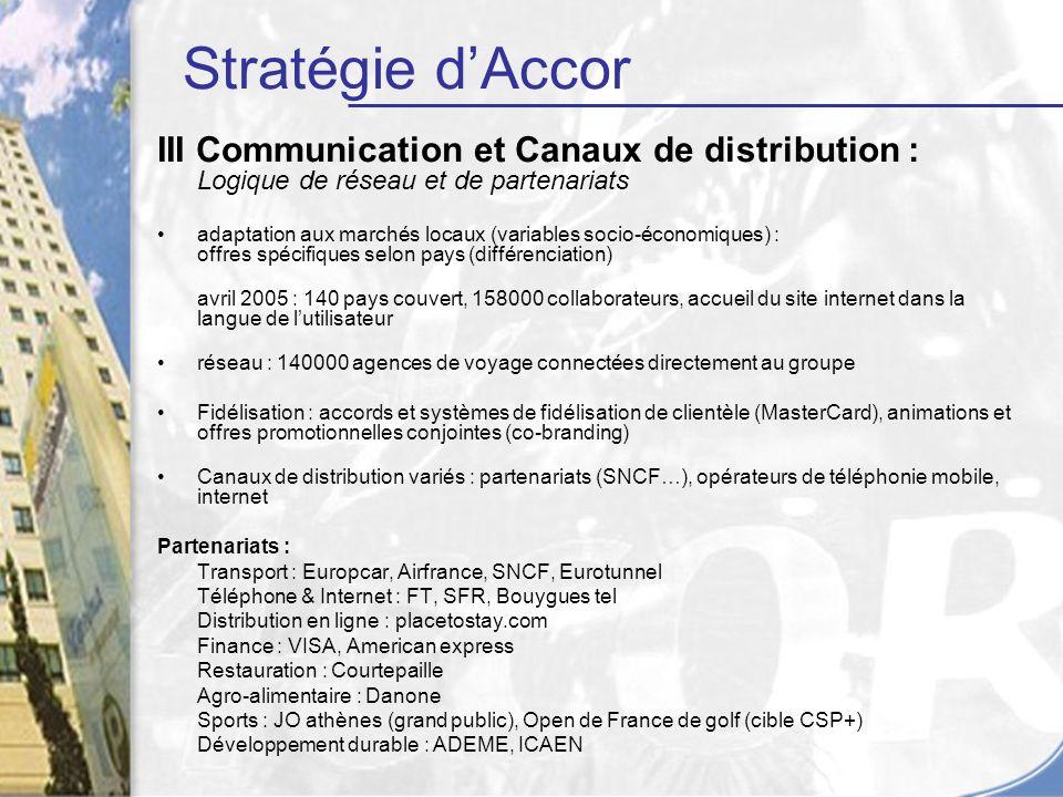 Stratégie d'Accor III Communication et Canaux de distribution : Logique de réseau et de partenariats.
