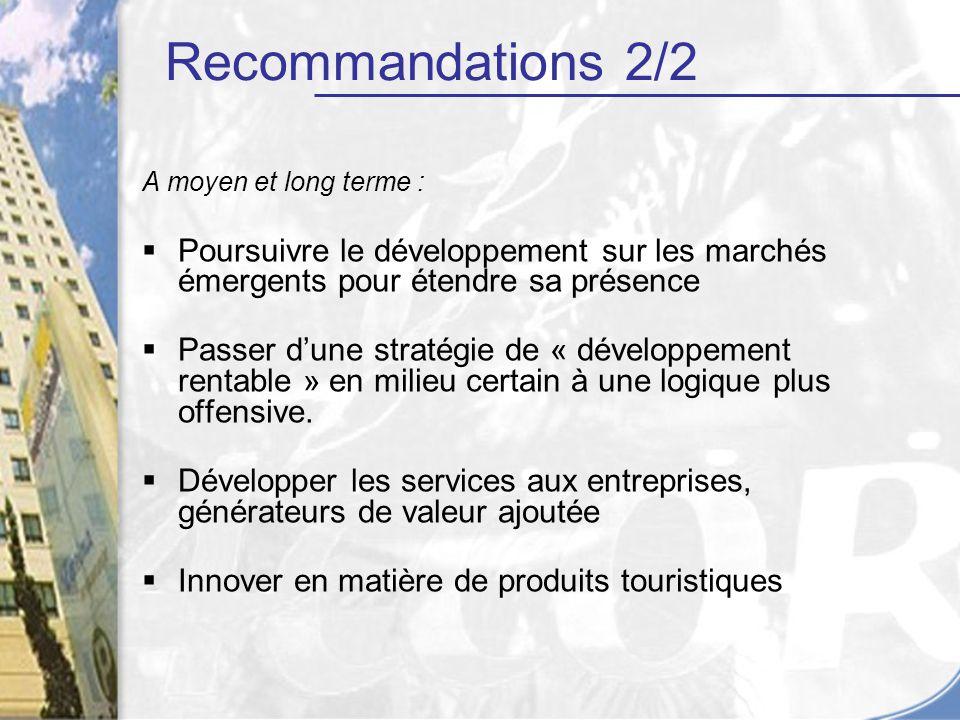 Recommandations 2/2 A moyen et long terme : Poursuivre le développement sur les marchés émergents pour étendre sa présence.