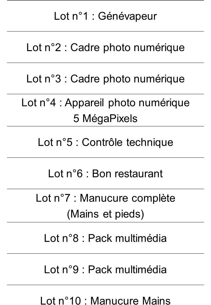 Lot n°2 : Cadre photo numérique Lot n°3 : Cadre photo numérique