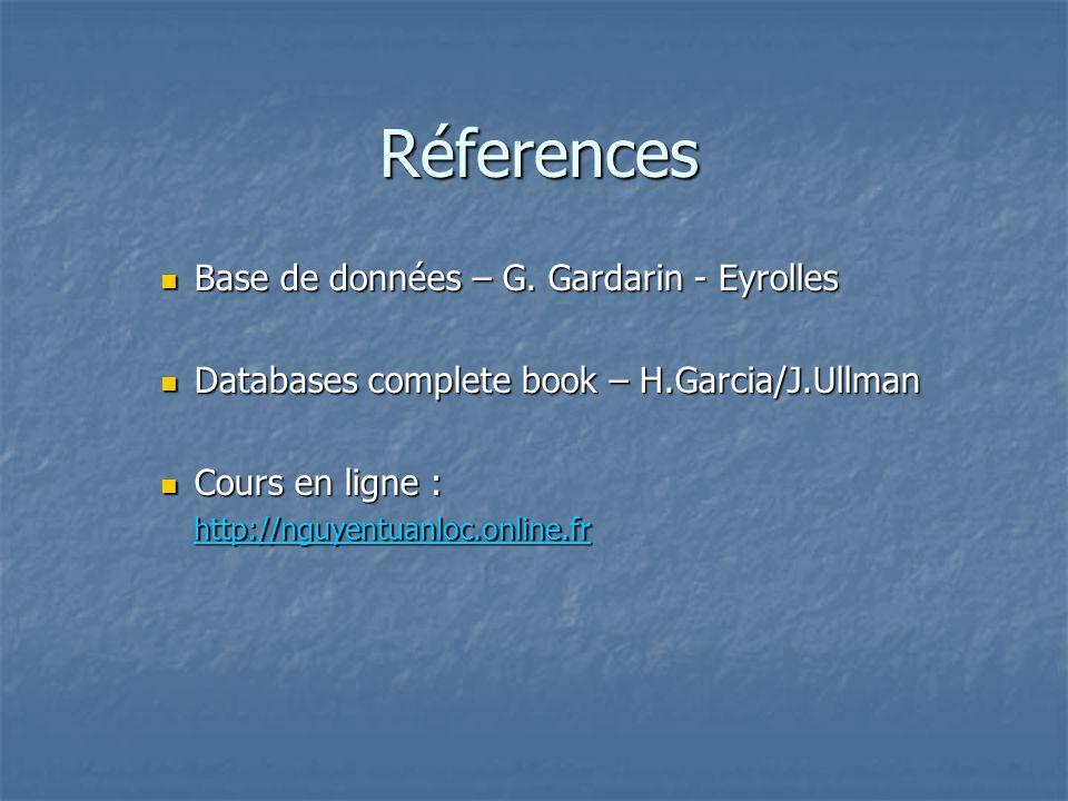 Réferences Base de données – G. Gardarin - Eyrolles