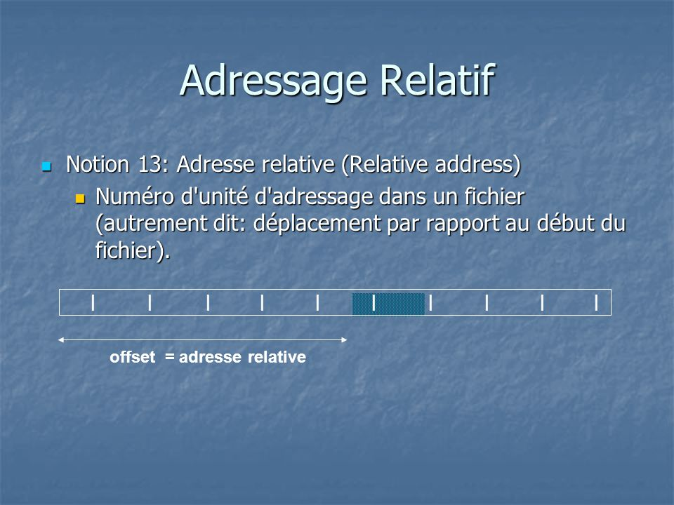 Adressage Relatif Notion 13: Adresse relative (Relative address)