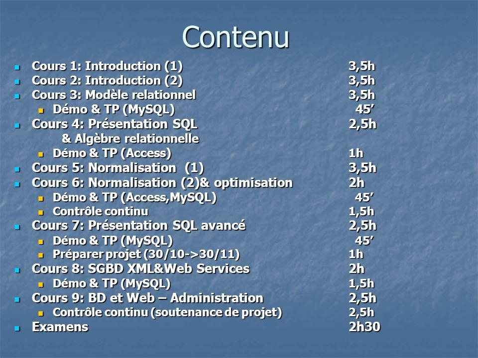 Contenu Cours 4: Présentation SQL 2,5h Cours 5: Normalisation (1) 3,5h