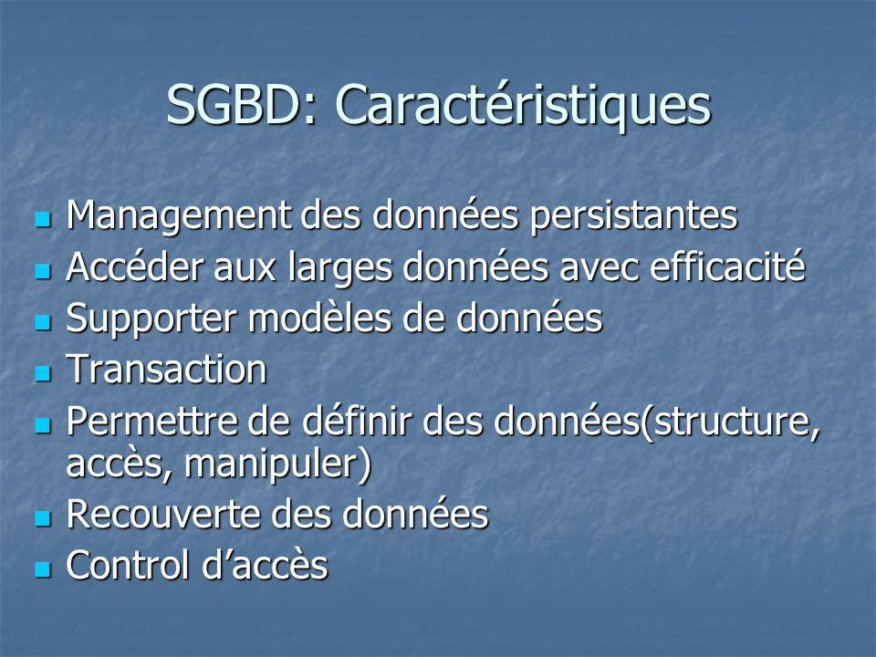 SGBD: Caractéristiques