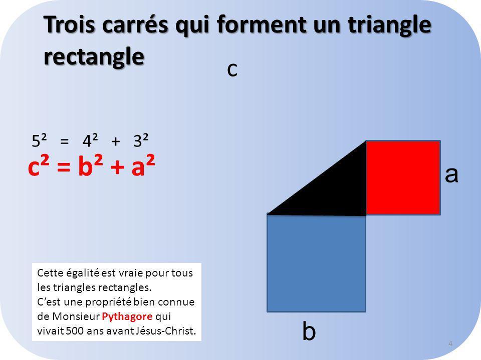 Trois carrés qui forment un triangle rectangle