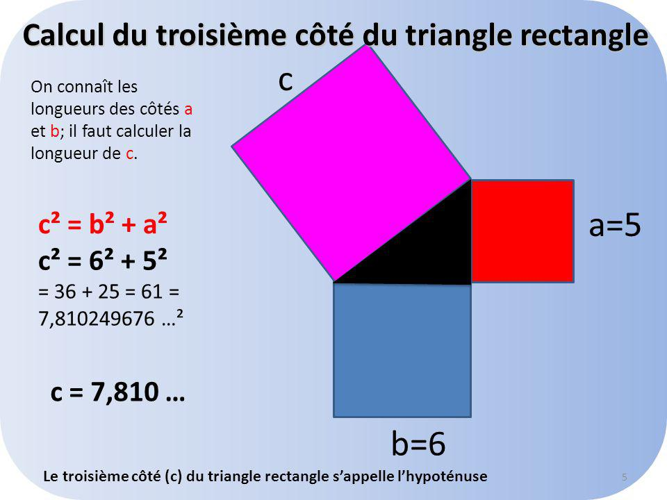 Calcul du troisième côté du triangle rectangle